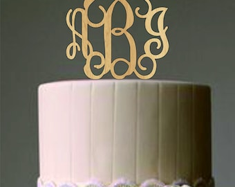 Personalized Monogram Wedding Cake Topper - Elegant Initials Cake Topper - Perfect Engagement or Bridal Shower Gift - Rustic Weddings