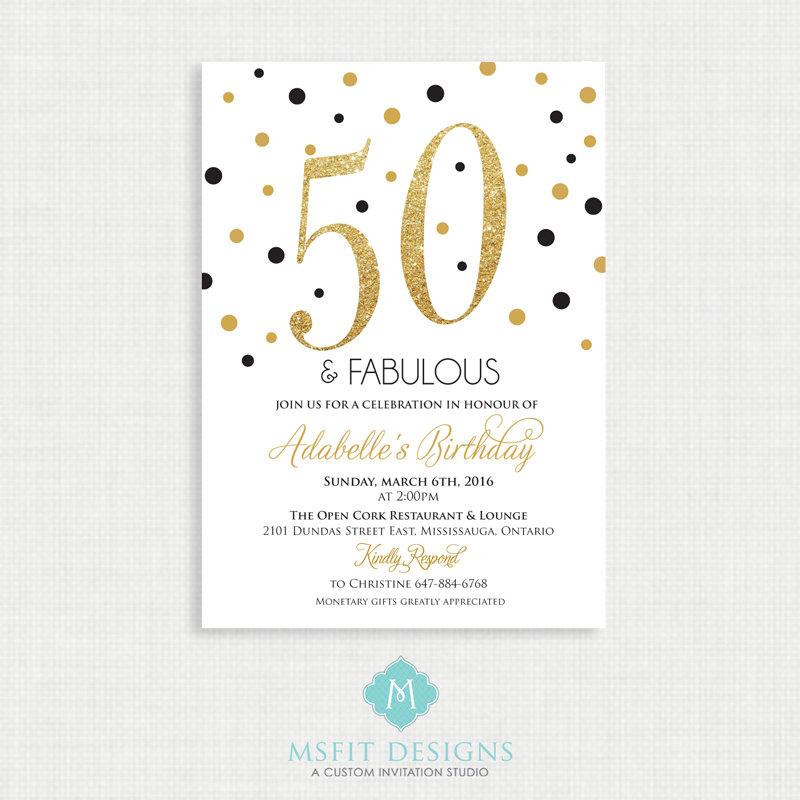 Printable Birthday Invitation- 50th birthday invitation- Party ...