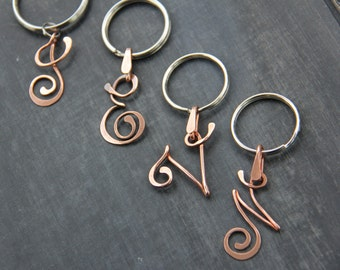 Personalized cursive letter key chain, metal key holder, wire wrap ,hand formed, hammered, metal key fob, copper, metalwork, oxidized