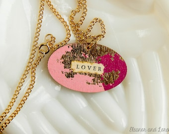 Repurposed poetic message necklace / romantic / message jewelry / good bye lover / mixed media jewelry / collage jewelry / vintage poem
