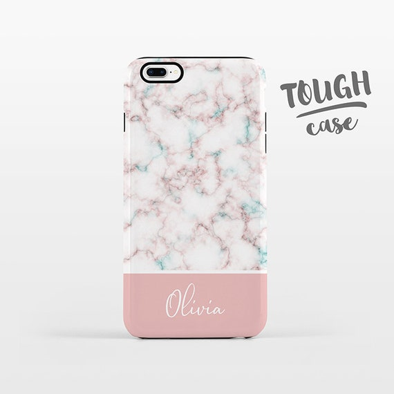 Marble NAME Custom Phone Case Personalized iPhone X Case iPhone 8 Case iPhone 7 Plus Case iPhone 6S Plus iPhone 5 Pink iPhone Case TOUGH