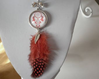 "necklace ""dream catcher"" glass cabochon and genuine red Guinea fowl feathers"