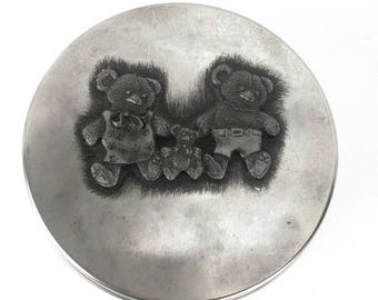 Vintage Metzke Pewter Three Bear / Bear Family Tin
