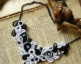 Gothic Wedding Anniversary Gift, Black and White Gothic Necklace, Gothic Wedding Jewelry , Origami necklace