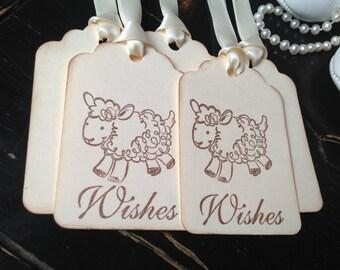 Lamb wish tags-Lamb baby shower-Lamb gift tags and favors-set of 12