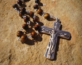 Tiger Eye Natural Stone Holy Trinity Rosary Prayer Beads, Catholic Gift, First Communion, Wedding, Confirmation, Baptism
