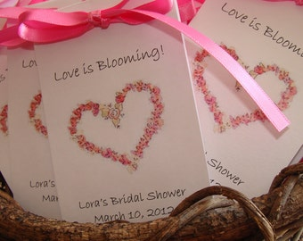 Personalized Floral Country Rose Heart  Bridal Shower  Wedding Engagement Flower Seed Packets for Sweet 16 Birthday Anniversary Party