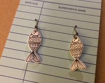 Folk Art Fish Earrings