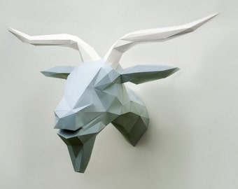 Paper BIG goat, Polygon goat, Cardboard template diy goat, Lowpoly goat, Trophy head, 3D paper head, Papercraft, 3D pazzle, FREE SHIPPING