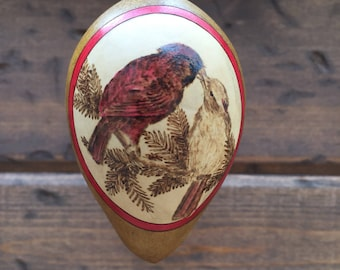 Kissing Cardinals Anniversary Valentine Ornament egg gourd