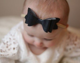 Saylor Faux Black Leather Layered Bow Headband