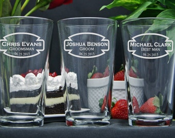 Personalized Beer Glasses / Groomsmen Gifts / Bridesmaids Gift / Engraved Wedding Glasses / Custom Engraved Pint Glass / Select ANY Quantity