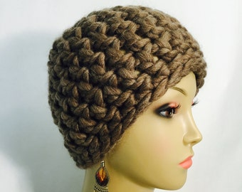 Thick Brown Crochet Hat