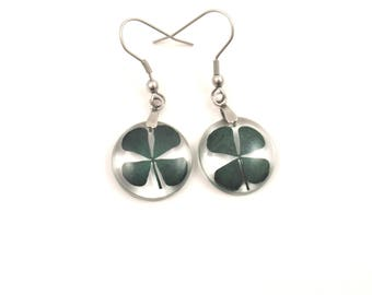 Four Leaf Clover Earrings, Real Shamrock earrings, Botanical Resin Earrings, Real clover jewelry,  Botanical Earrings, Natural jewelry