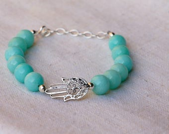 "Aqua Jade bracelet,  sterling silver hand of Fatima, ""Hamsa"", beaded bracelet"