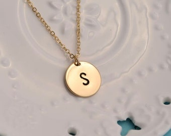 personalized initial disc necklace hand stamped coin necklace dainty delicate gold monogram necklace bridesmaid necklace