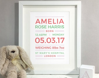 Custom kids room etsy uk new baby gift christening gift personalised print nursery decor art kids room negle Gallery