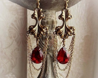 Antiqued brass dangle earrings with red jewels baroque renaissance earrings ruby red crystals hanging bridal antique gold red earrings