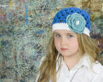 "Crocheted Beanie Hat ""The Vivian"" Blueberry, White, Boston Blue Flowers Dainty Baby Toddler"