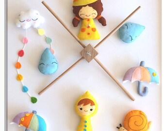 Baby mobile, raindrops, girl, boy, cloud, snail, umbrella