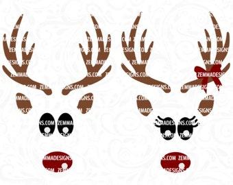 Reindeer face svg - Reindeer svg - Christmas svg - svg christmas files, Christmas shirt svg, reindeer svg files, Christmas clipart, woodland