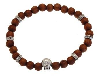 Bracelet Skull (925) Bayong wood & Crystal