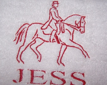 Personalised embroidered Dressage Horse  bath towel (100% cotton)