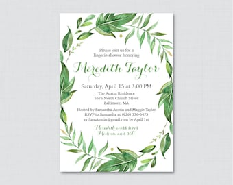Green Lingerie Shower Invitation Printable or Printed - Botanical Wreath Lingerie Shower Invites, Simple, Classic Bachelorette Party 0021