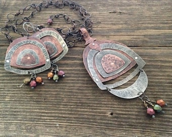 Mixed metal rustic necklace and earrings set, hand forged riveted arches