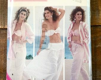 1987 Butterick Pattern 5674-Family Circle Collection-Misses' Shirt-Bra-Pants-Skirt-Summer-Beach Wear. Size 12-14-16
