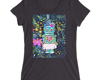 Robot Girl Fitted T-shirt -Black