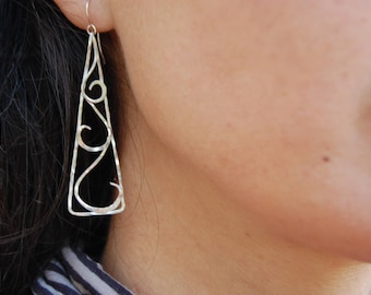 Long earrings, Sterling Silver triangle with scrolls