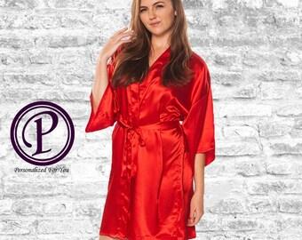 Red Satin Kimono Bridesmaid Robes, Monogrammed Robes, Embroidered Robes, Wedding Day Robes, Bridesmaid Gift, Bridal Robe, Satin Robes