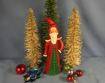 Paper mache sculpted vintage old world Father Christmas Santa Christmas figure