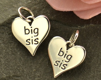 Sterling Silver Big Sis Charm. Big Sister Jewelry. Lil Sis Charm.