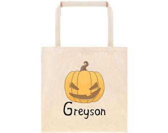 Scary Pumpkin Halloween Personalized Trick or Treating Tote Bag// Personalized Trick or Treat Candy Bag / Jack O Lantern Halloween Candy Bag