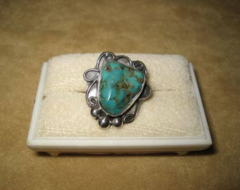 Sterling Turquoise Nugget Ring Southwest Style Size 8 Vintage