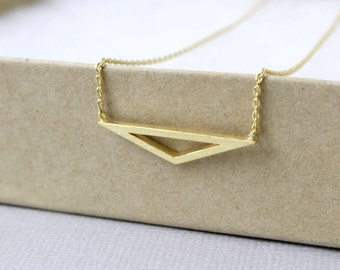 Wide Triangle Pendant Necklace. Simple and Dainty Necklace Birthday Gift Gift for Friends