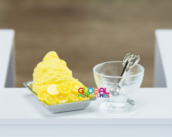 Dollhouse Miniatures Homemade Fruity Gelato Ice Cream Lemon on Aluminium Tray With Bowl and Metal Scooper - 1:12 Scale