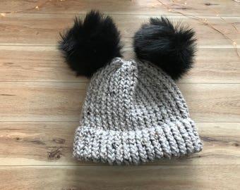 Double Pompom Loom Knit Hat, Double Brim Beanie, Faux Fur Pompom Hat