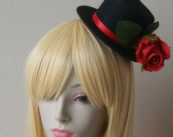 Black with Red Ribbon and Beautiful Romantic Red Rose Top Hat Elegant Lovely Aristocrat Deco Gothic Rocker Jrock Cosplay Costume Accessory
