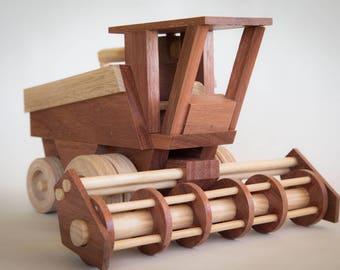 Handmade Wooden Toy Combine Harvester