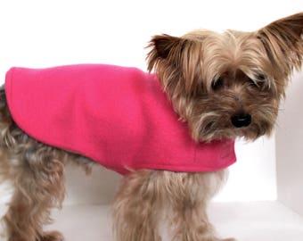 Dog Coat Jacket Reversible, XXS XS S M L Pink and White Fleece Dogs Jacket coat, Designer Fashion Dog Clothing