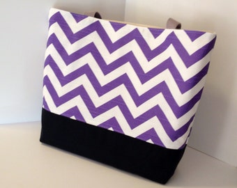 Chevron Tote Bag . Chevron beach bag . Purple White black  . standard size . great bridesmaid gifts . monogramming available