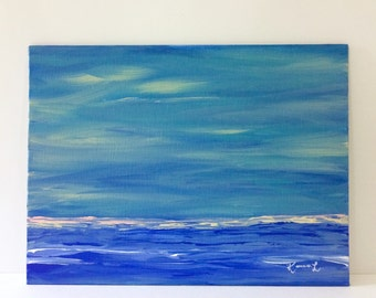 Blue seascape painting abstract canvas art original artwork contemporary minimalist 9x12 canvas