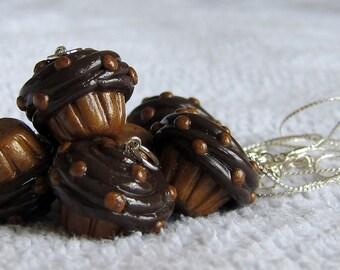 Creamy Chocolate Peanut Butter CupCake Necklace / Pendant
