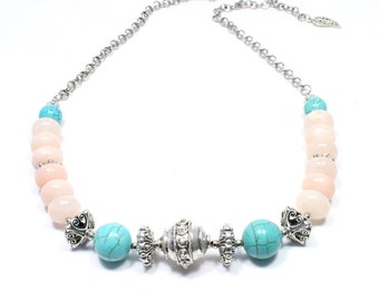 Peach and Turquoise Necklace - Peach Aventurine, Turquoise Howlite and Silver Bali-Style Bead Necklace - Turquoise Jewelry - BigSkiesJewelry