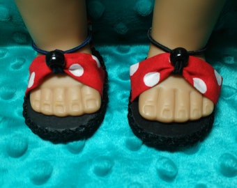Red and White Polka Dot American Girl Doll Sandals