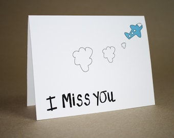 I Miss You Card - Thinking of You card, romance, love, friends, airplane, blank inside