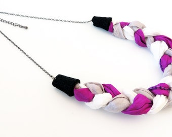 Braided Silk Necklace -- Pink, White and Grey -- Sewn Fabric Pendant -- Gunmetal Black Chain -- UK Shop